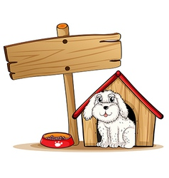 A dog inside the dog house with a wooden signboard vector image