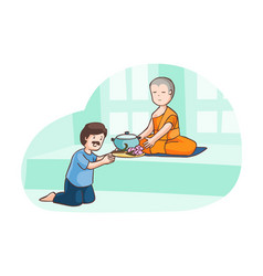 A man offer food to monk vector