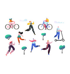 active people outdoor in the park man and woman vector image