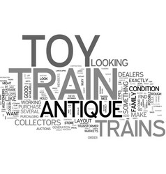 Antique toy trains for sale text word cloud vector