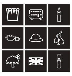 Assembly stylish black and white icons england vector