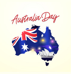 australia day greeting card banner with flag and vector image