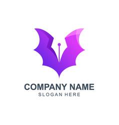 Bat with pen logo design vector
