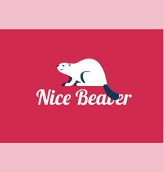 beaver animal logo - and text nice vector image