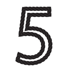 Black and white number five made from rope vector