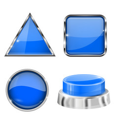 blue 3d buttons and icons with metal frame vector image