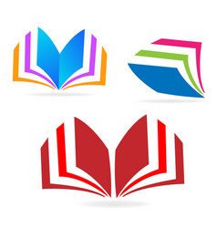 book reading icon sets vector image