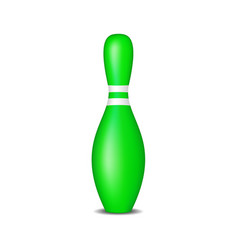 bowling pin in green design with white stripes vector image
