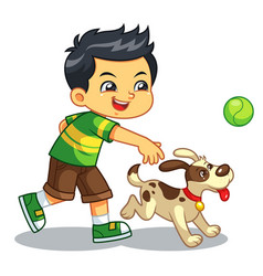 Boy playing with his pet dog vector
