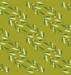 branches of olive tree seamless pattern green vector image