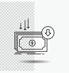Business cost cut expense finance money line icon vector