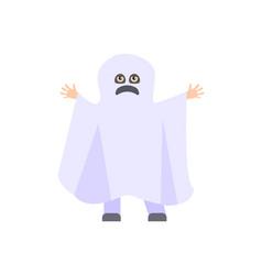 cartoon halloween kid costume white ghost vector image