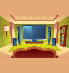 Cartoon home theater audio video system vector