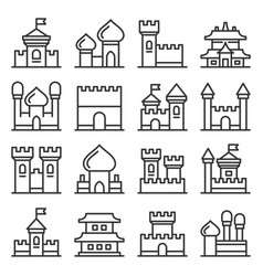 castle icon set on white background line style vector image