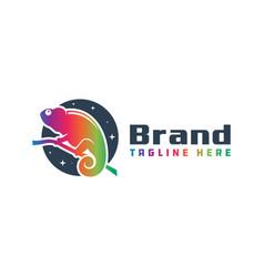 Chameleon animal modern logo vector
