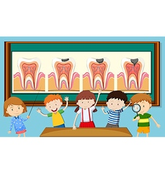 Children and tooth decay diagram vector image