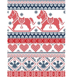 Christmas pattern with rocking horse in red blue vector image