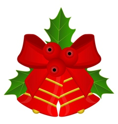 Christmas red bells with bow and holly vector image