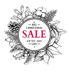Christmas sale banner wreath hand drawn vector image
