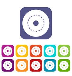 Circle road icons set flat vector