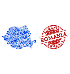 Collage map of romania with linked circles and vector