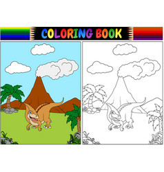 coloring book with parasaurolophus cartoon vector image