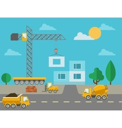 Construction process with construction machines vector image
