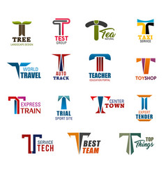 corporate identity or business icons with letter t vector image