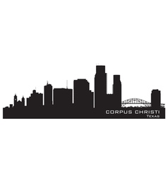 Corpus Christi Texas skyline Detailed silhouette vector image