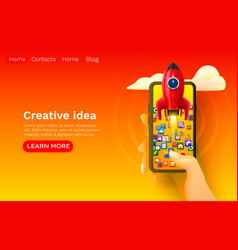 creative idea rocket space mobile start-up web vector image
