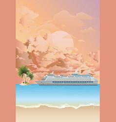 cruise ship anchored at dawn vector image