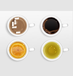 cups coffee tea and cocoa top view vector image