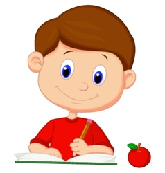 Cute boy cartoon writing on a book vector image