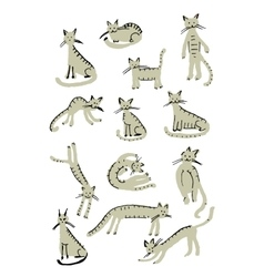 Cute cats childish style Sketch for your design vector image