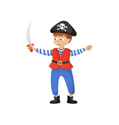 cute smiling boy in pirate costume with black hat vector image
