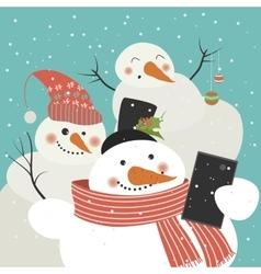 Cute snowmen take a selfie vector image