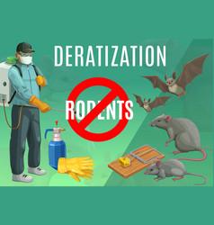 Deratization rodent extermination service poster vector