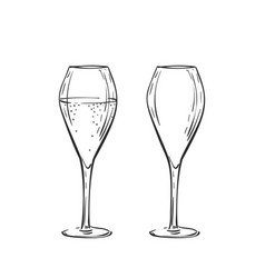 Empty and full tulip champagne glass drawing vector