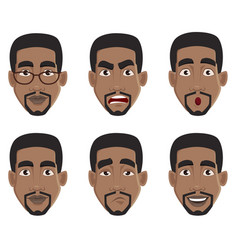 Face expressions of african american man vector