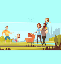 Family outdoor retro cartoon vector