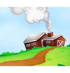 Farmhouses on the hill vector