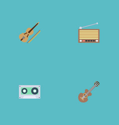 Flat icons fiddle radio acoustic and other vector