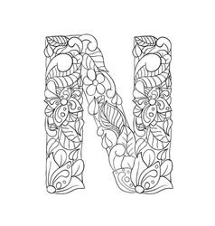 Floral n letter contour vector