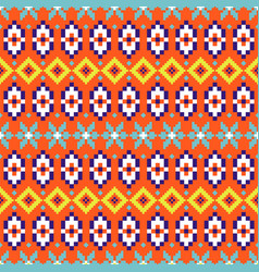 folk geometric seamless pattern colorful pixelated vector image