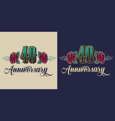 forty years anniversary celebrating print vector image