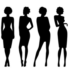 four slim attractive women silhouettes vector image