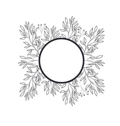 Frame with plants and herbs isolated icon vector