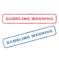 Gambling warning textile stamps vector