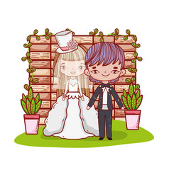 Girl and boy couple with brick wall vector