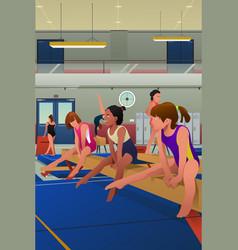 Girls practicing gymnastic vector